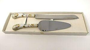 bridalane by sheffield pie or cake server & knife set vintage england circa 1970