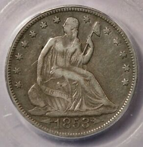 1853-P 1853 Seated Liberty Half Dollar ICG VF20 Arrows & Rays