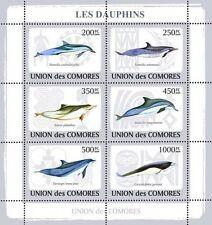 Dolphins Marine Life sea mammals Comoros Comores 2009 m/s Sc.1093 MNH #CM9109a