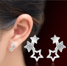 Fashion Women White Gold Plated Rhinestone Crystal Stars Stud Earrings