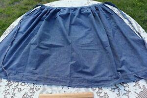 "Antique Vintage Cotton Indigo French Work Wear Apron~L-31"" x W-52"""