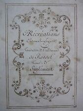 ROESEL. Insect. Récréations entomologiques, Texte écrit main au XIXè Siècle.
