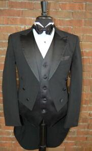 Mens 40 L Classic Black Peak Tails Tuxedo Jacket Full Dress Tail