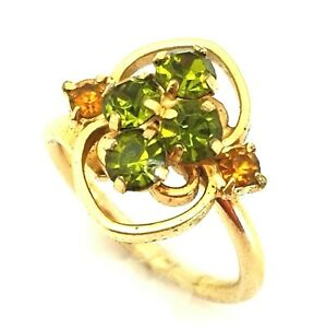 Vintage Costume Jewellery Signed SARAH COVENTRY Gold Tone Green Crystal Ring