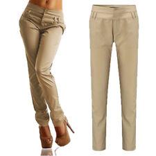 Women High Waist Casual OL Work Straight Leg Long Pants Ladies Pencil Trousers