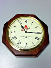 Bass ale beer vitnage real wood glass wall clock B/0 England imported bier Mn3