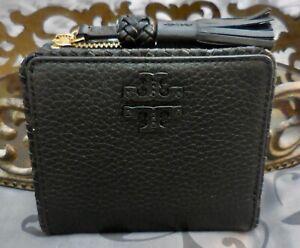 Tory Burch ~ Pebbled Leather TAYLOR Mini Zip Bifold Wallet ~BLACK~NWT $135
