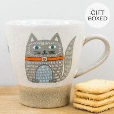 New Sukie Forest Animal Folk Cat Earthenware Natural Colour Gift Boxed Mug
