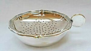 Large Swedish nickel silver tea strainer and drip tray