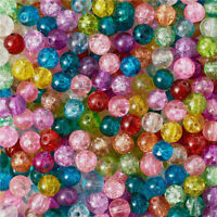500pcs Transparent Crackle Glass Beads Round Mixed Color Split Loose Beads