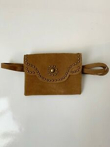 Free People Suede Fanny Pack Handbag Leather Studded Brown