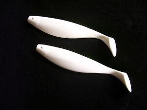 "9""  WHITE  Plastic Shad Bodies/  5 per pack"