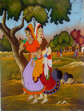 "Village Scene of India Batik Painting on Cotton 43"" x 32"" (023) Free Shipping"