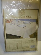"NEW Better Home Satin Stripe Fabric Table Cloth ivory oblong 60"" X 104"""
