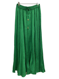 Zara Green Long Satin Wrinkled Skirt Size Medium RRP £49.99