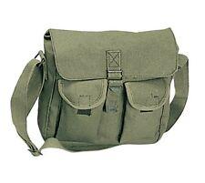 Military Cotton Canvas Ammo Shoulder Messenger Vintage Style Bag - Olive