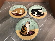 "(lot of 3) Warren Kimble ""Cat Collection"" 8"" Round Plates 2000 Stoneware"
