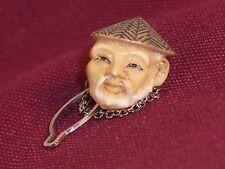 Antique Japan Carved Pin Tie Tac Vintage Old