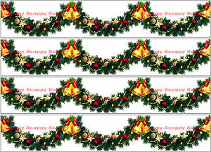 Christmas Garland Bells Holly baubles Edible Icing Ribbon Cake Decoration Topper