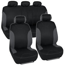"""Venice"" Series Black Charcoal Seat Covers for Car Two Tone Design Front & Rear"