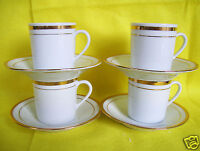 Set Of 4 Designer Demitasse Gold Trim Cups & Saucers Made In China
