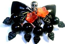 GOTH PIN LUCITE BOW Silver Skull & Crossbones BLACK CHERRIES CZECH GLASS LEAF