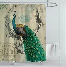 "Peacock Feathers Vintage Shower Curtain Bathroom Decor with Hooks 71""x71"""