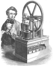 ENGINEERING. Hjorth's Electro-Magnetic Motive Engine, antique print, 1849