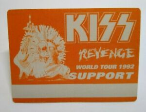 Kiss Revenge Backstage Pass Original Hard Rock Music Concert Tour Orange Skull