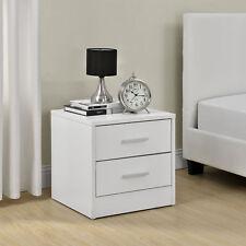 [en.casa]® Comodino da letto con 2 cassetti bianco como tavolino d´appoggio
