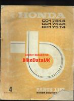 Honda CD175 K4 A4 T4 (72-75) Genuine Parts List Catalog Manual Book CD 175 BV70