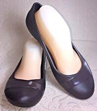 CROCS Gianna Women Sz 8 Brown Ballet Flat Loafer Shoe Chocolate Slip On EUC