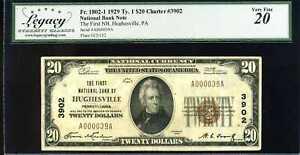 1929 $20 1st NB of Hughesville, PA Fr#1802-1 Ty.1 Ch#3902 VF20 #A000039A