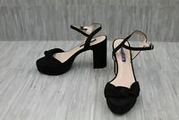 Stuart Weitzman Mirri 100 Platform Suede Ankle Strap Sandals, Women's 7W, Black