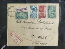 1938 Mulhouse France cover to Montreal Canada Multi Franked Marcel Arnold