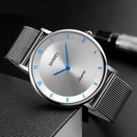 SKMEI Mens Womens Ultra Thin Minimalist Stainless Steel Mesh Band Wrist Watch US