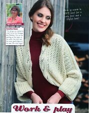 """~ Knitting Pattern For Lady's Lovely Lacy Batwing Shrug ~ Bust Sizes 28"""" ~ 50"""" ~"""