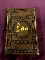 Poetical Works of John Milton c.1860  Leather Binding!!  Illus