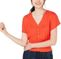 Planet Gold 253773 Womens Button-Up Smocked Top Manderin Red Size X-Large