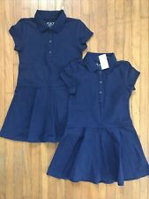 Girls Size 4 Navy Blue Pique Polo Uniform Dress Lot Nwt