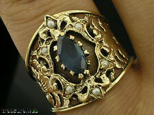 C640- ORNATE Genuine 9K Solid Gold Natural Sapphire & Pearl WIDE Ring in yr size