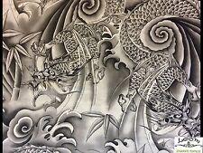 RPFKB21C Japanese Dragon Kona Bay Asian Sky Smokey Grey Cotton Quilt Fabric