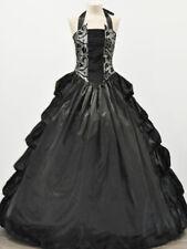 Victorian Gothic Silver Brocade Dress Halter Corset Ruffle Cosplay Ball Gown 113