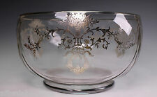 Duncan Miller Glass Punch Bowl with Silver Floral Wreath Overlay
