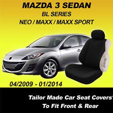 Custom Made Mazda 3 BL Sedan Black SEAT COVERS 2009-01/2014 AIRBAG Neo MAXX