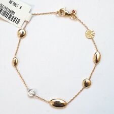 "NWT Roberto Coin Chain 7.75"" Bracelet Yellow, White 18K Gold Diamond Stations"