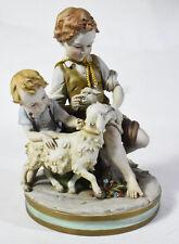Benacchio Triade Capodimonte Italian Porcelain Figurine - 2 Boys w/ Lamb & Sheep