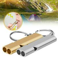 2Pcs Aluminum Alloy Survival Whistle Camping Hiking Keychain Outdoor C8L3