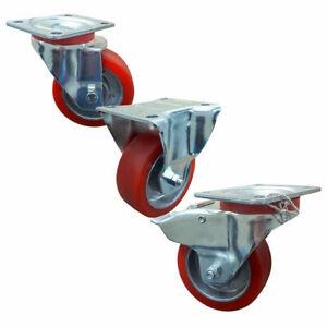 Wiko Heavy Duty Castor Wheels Polyurethane 100mm Trolley Furniture Brake Caster