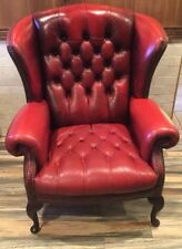 Vintage Red Leather Accent WingBack Button Tufted Chair w/ Nailhead accents 41H